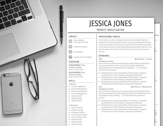 Resume Template 1 Page 2 Page CV Template Cover Letter Instant Digital  Download Resume CV Professional Resume Standard Resume Easy Resume CV