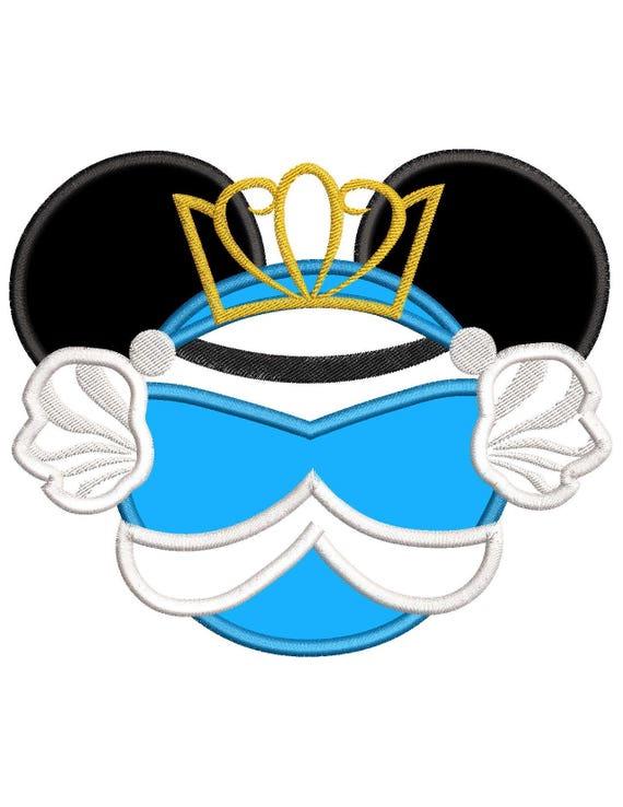 Aschenputtel-Mickey Mouse Ohren Applique Design   Etsy