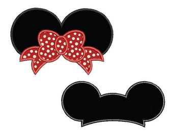 Mickey and Minnie mouse ears set applique design - Disney embroidery design - Monogram frame - Machine embroidery design