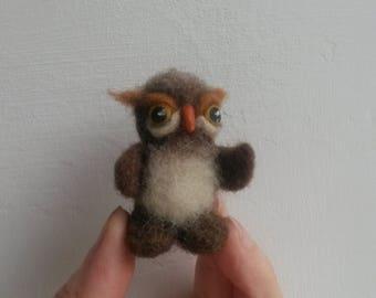 Needle felting owl Miniature Felted bird Fantasy Owl Felted animals Wool bird Gift