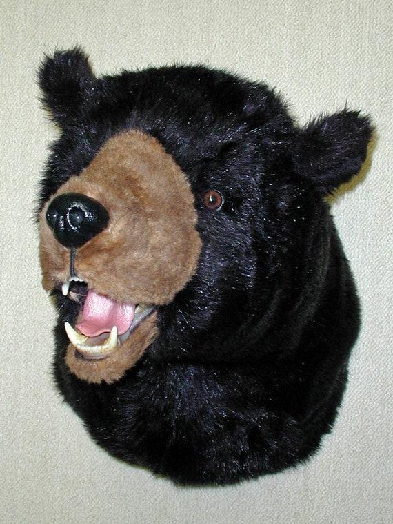 Plush Black Bear Head Stormy X Large Shoulder Etsy