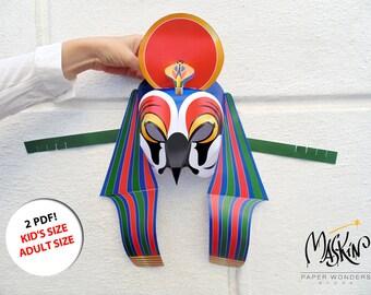 5ac5d04118 Ra mask PRINTABLE pattern. Egyptian god mask. Egyptian paper mask. Egyptian  mask. Egyptian costume mask. Egypt mask. Papercraft mask. Mask.