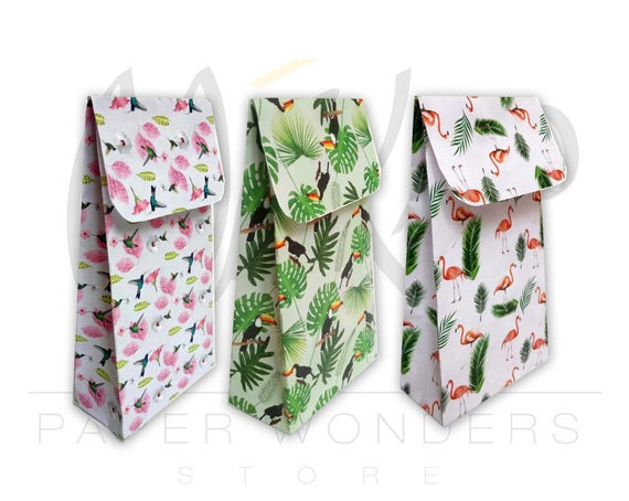 Gift packaging. Favor bags Digital paper pack bags Paper pack Flamingo bag Gift bags Paper gift bags Paper bags PRINTABLE pattern set