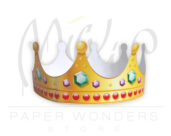 paper crown printable paper crown template gold crown queen etsy