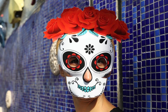 sugar skull mask printable pattern day of the dead mask etsy