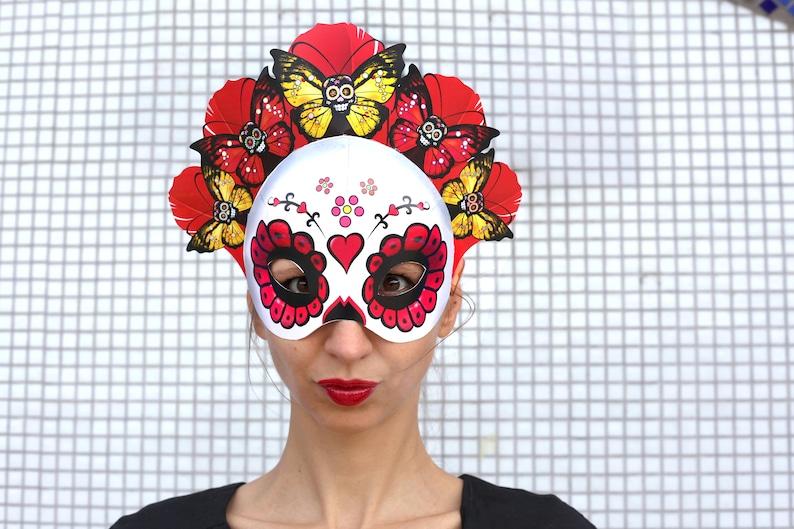 Sugar Skull Mask Printable Calavera Mask Day Of The Dead Etsy
