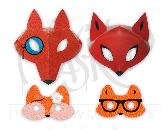Fox Mask PRINTABLE Masquerade Couple Masks