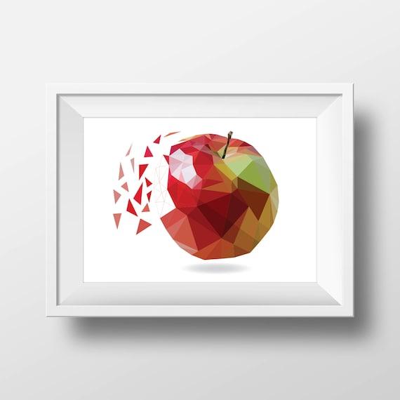 Apple Wall Art Digital Download Geometric Wall Art | Etsy