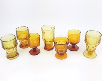 becb31bbbff7 VTG Amber Drinking Glasses Barware Mid Century Home Decor Statement  Glassware Eclectic