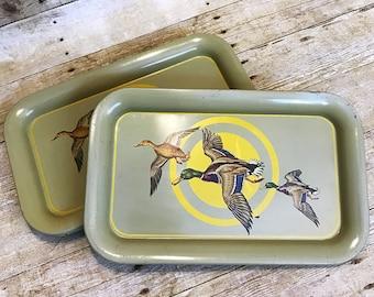 VINTAGE 1950s Set of 5 Mallard Duck Artistic Decrotive Serving Tray