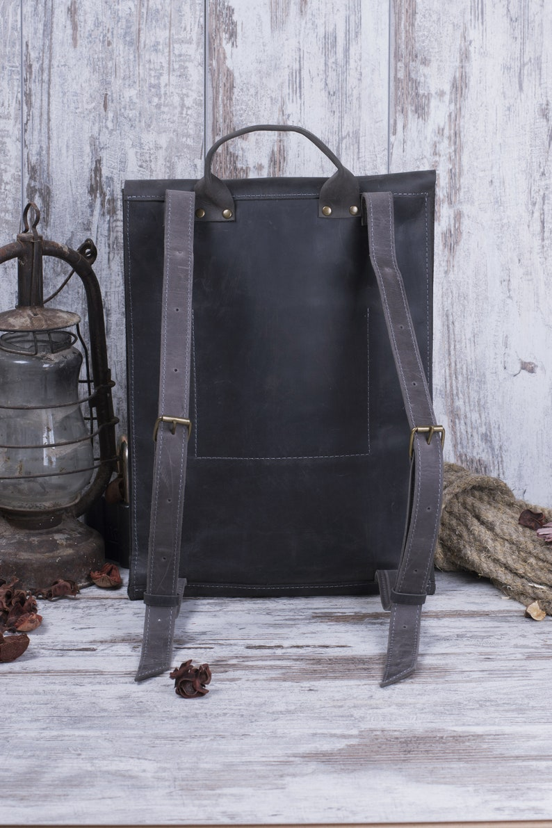 Leather Backpack Men Laptop Backpack Leather Rucksack Mens Backpack Leather Backpack