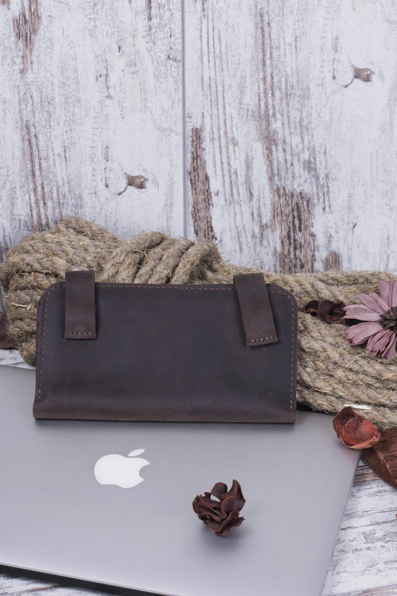 b048be2340f03 Cienki skórzany portfel portfel dla kobiet Handmade Portfele | Etsy