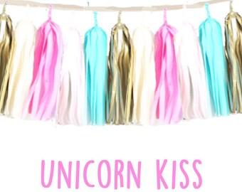 Tissue tassel Garland Unicorn Kiss-wedding decor-nursery decor-booth backdrops-party decor-christening decor-balloon tails-wall art