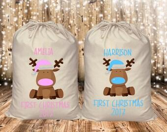 Baby's first christmas baby boy,baby girl, santa sack,personalised,custom,small/medium/large/extra large,present sack