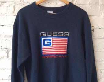 Vintage Guess Sweatshirt / Red White & Blue / Patriotic / Retro / Hype / Hip Hop