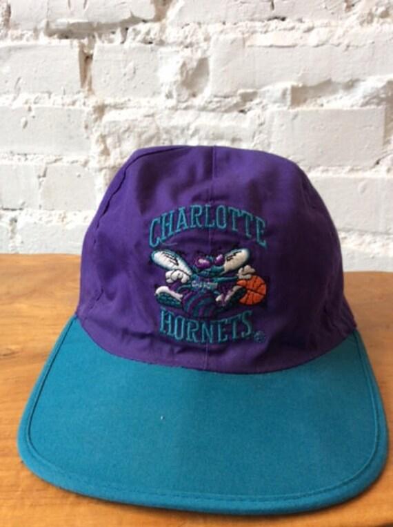 Vintage Charlotte Hornets Hat   Reversible Bandana Hat   NBA    79138da3fa9