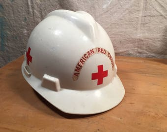 Vintage Retro Cosplay Costume Steampunk 1981 American Red Cross Hard Hat Construction Helmet White