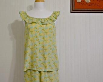 50's Matching Novelty Print Pajama Set