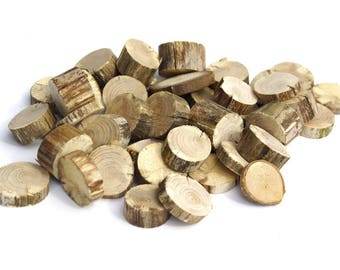 """100+ Dry Small No Bark 1"""" Wood Slices, Tree Slice Assortment, Various No bark Wood Circles, Branch Slices, Rustic Wood, Drift wood slices"""