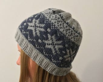 """Norwegian-knit Beanie """"Inked winter"""" with stars in greys of acrylic-vegan"""
