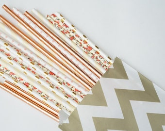Floral and Rose Gold Straws, Baby Shower Decor, Summer Party Decorations, Bridal Party Decorations, 25 Straw Piece Mix