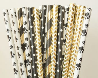 Puppy Paw Print Party Straws, Birthday Party Decorations, Theme party Decorations, Puppy Birthday Party Decorations, 25 Straw Piece Mix
