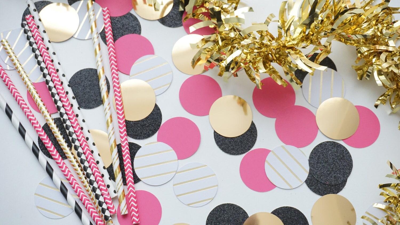 Círculo negro rosa y dorado confeti confeti de boda