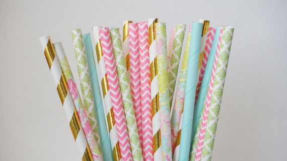 Pink Blue And Green Party Straws Floral Straws Baby Shower Etsy