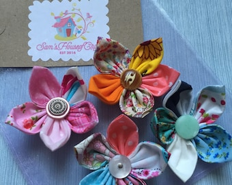 Set of 4 Everlasting fabric Flower fridge magnets, Home Decor, kitchen Decor, Floral magnets, office decor. various colours