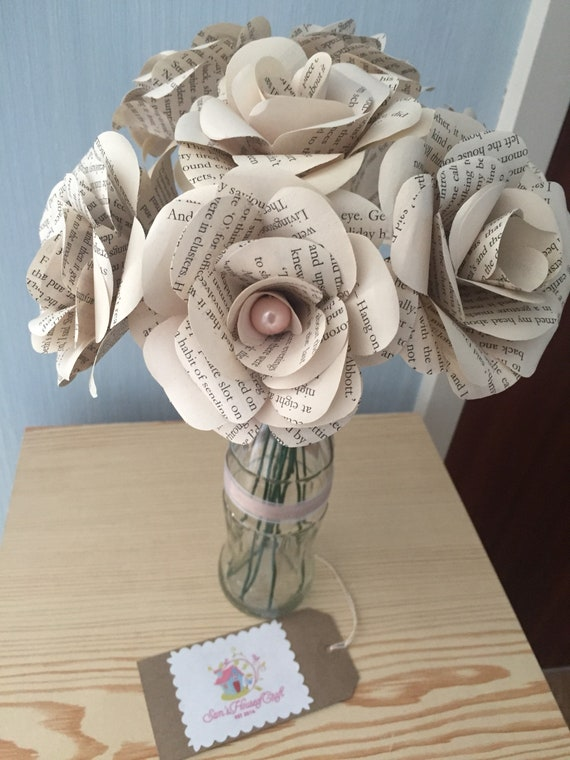 Vintage paper roses x10 bottle vase made from book pages etsy image 0 mightylinksfo