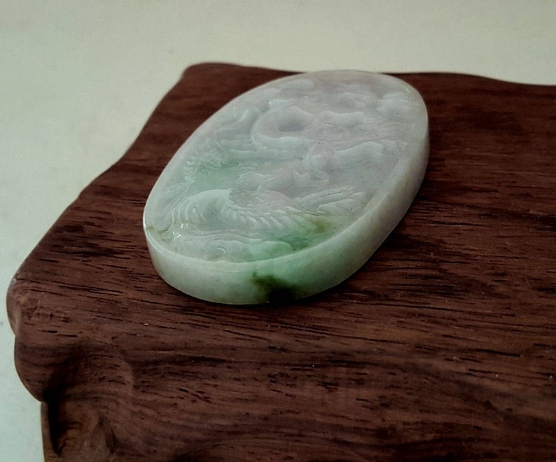 Grade A Type A Green Burma Jade  Dragon and Phoenix Carving Jewelry Genuine Jade,Green Pendant Jadeite Jade Pendant Chinese Collectiables