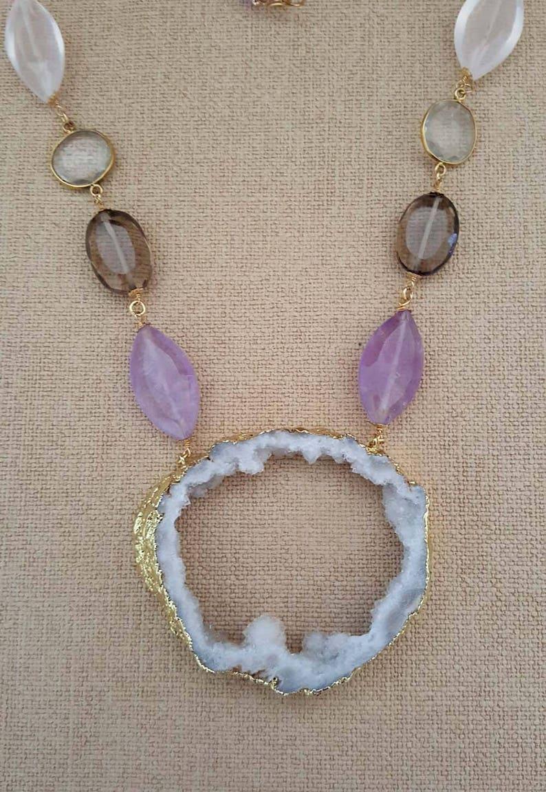 Rose,Clear,Smoky Quartz,Druzy Agate Purple Brown White Yellow Gold Necklace  February Birthstone Amethyst Quartz Druzy Pendant Necklace