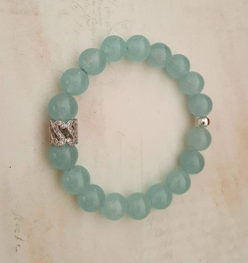Gemstone Silver Beaded Jewelry Blue Agate Bracelet Bangle Crystal Healing