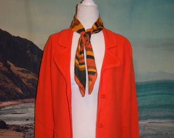 Vintage 60's LeRoy cherry red knit coat sz M