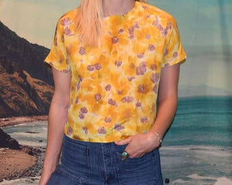 Vintage 50s/60's yellow floral cropped blouse Sz S