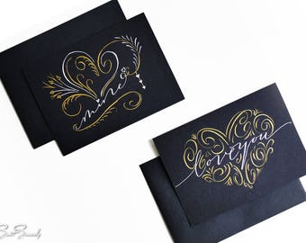 Flourished Calligraphy Love Card