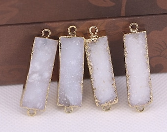 druzy gemstone charms pendant beads 5pcs Titanium agate quartz stone beads gold plated edged rectangle stone connector