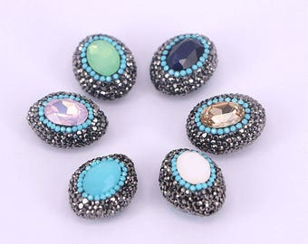 Jewelry making supplies beads pendants findings by zyzjewelry 10pcs rhinestone paved facted quartz stone connector beads oval crystal station druzy gemstone beads jewelry making aloadofball Gallery