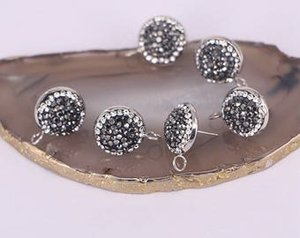 Round shape stud jewelry finding pave crystal rhinestone for earrings  fashion jewelry finding a7f1849acb34