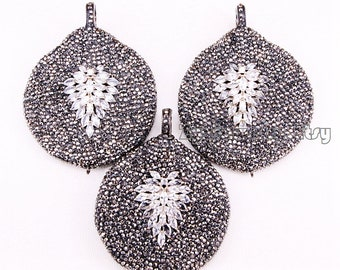 3PCS Pave Rhinestone & CZ micro pave leaf charms pendant connector Gemstone jewelry fashion for DIY jewelry
