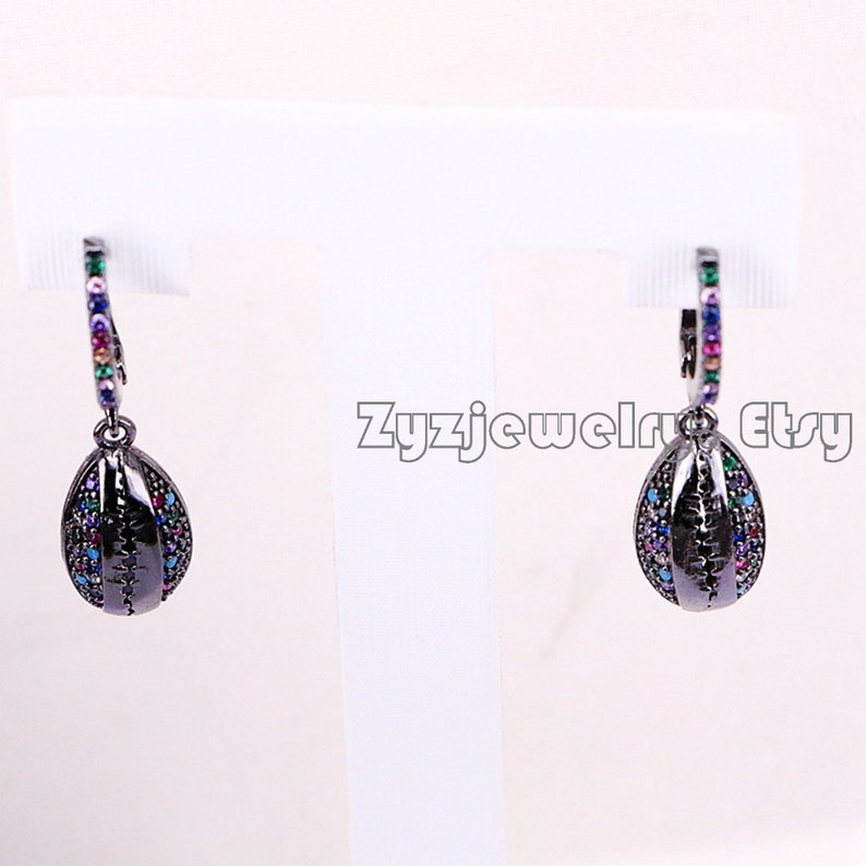 35Pair micro pave rainbow cubic zirconia cowrie shell dangle charm earring in 4 colors