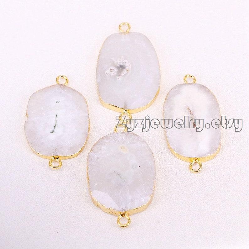 35PCS Natural White Solar Quartz Faceted Connector Beads New Sun Flower Quartz Connectors for Jewelry Making