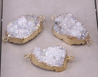 2/6pcs Gold Plated Freeform Natural Titanium AB Quartz Druzy Geode Connector Beads, Drusy Pendant Beads