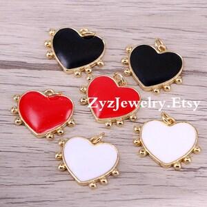 AZYZ300-4015 Full CZ Paved heart shape pendant Charms Vintage Accessories women Jewelry gift 5PCS