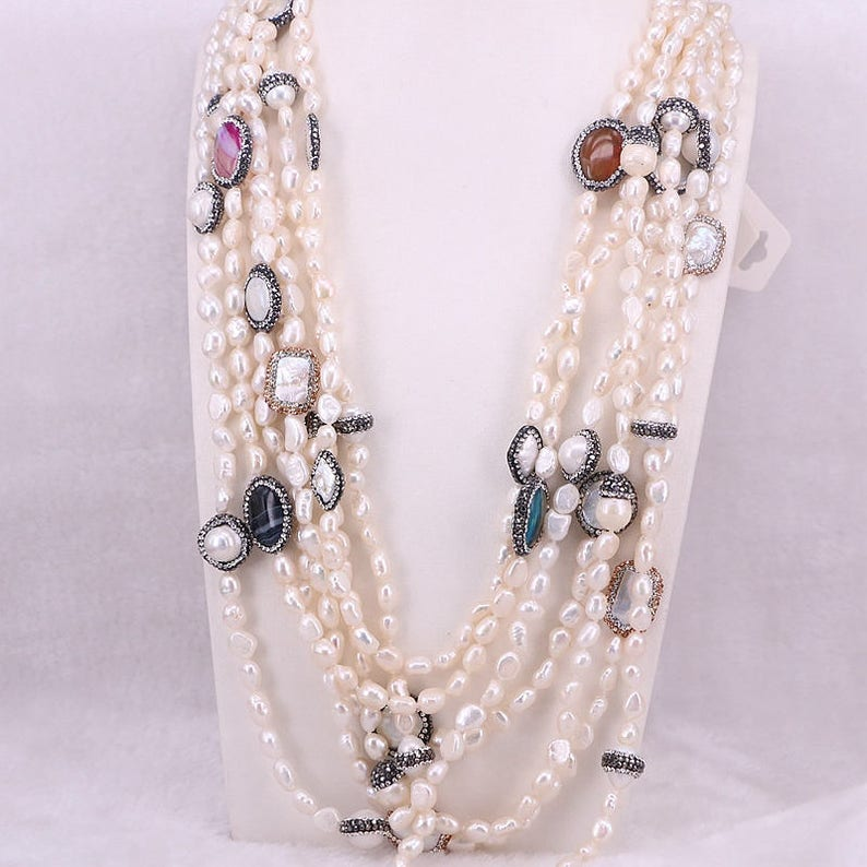 Handmade Fashion Women Natural Freshwater Pearl Chain Necklace Pearl Stone Rhinestone Paved Beads Jewelry