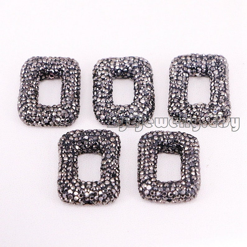 10pcs Open Rectangle Beads Full Rhinestone Crystal Paved Connector Spacer Beads For Making Bracelet necklace Jewelry