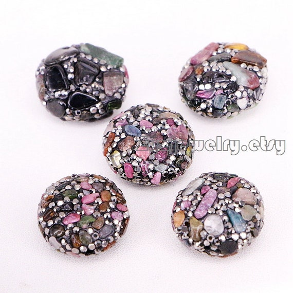 Black and golden pave faceted stone beads side hole gemstone beads jewelry findings 510PCS