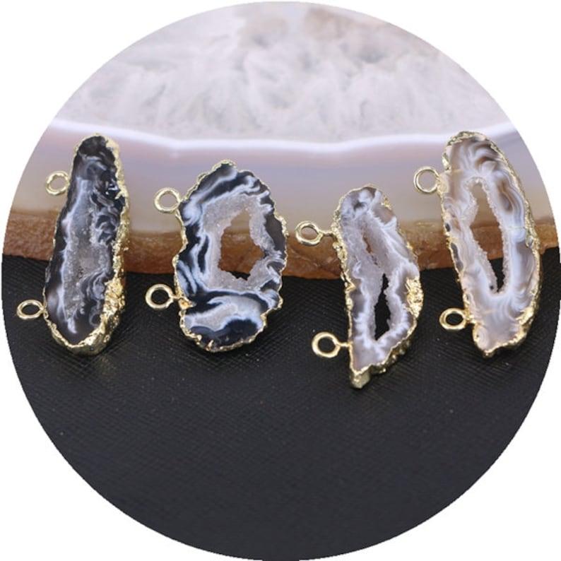 gold electroplate edge geode agate quartz druzy gemstone pendants 5pcs Nature slice agate pendant beads with double bails