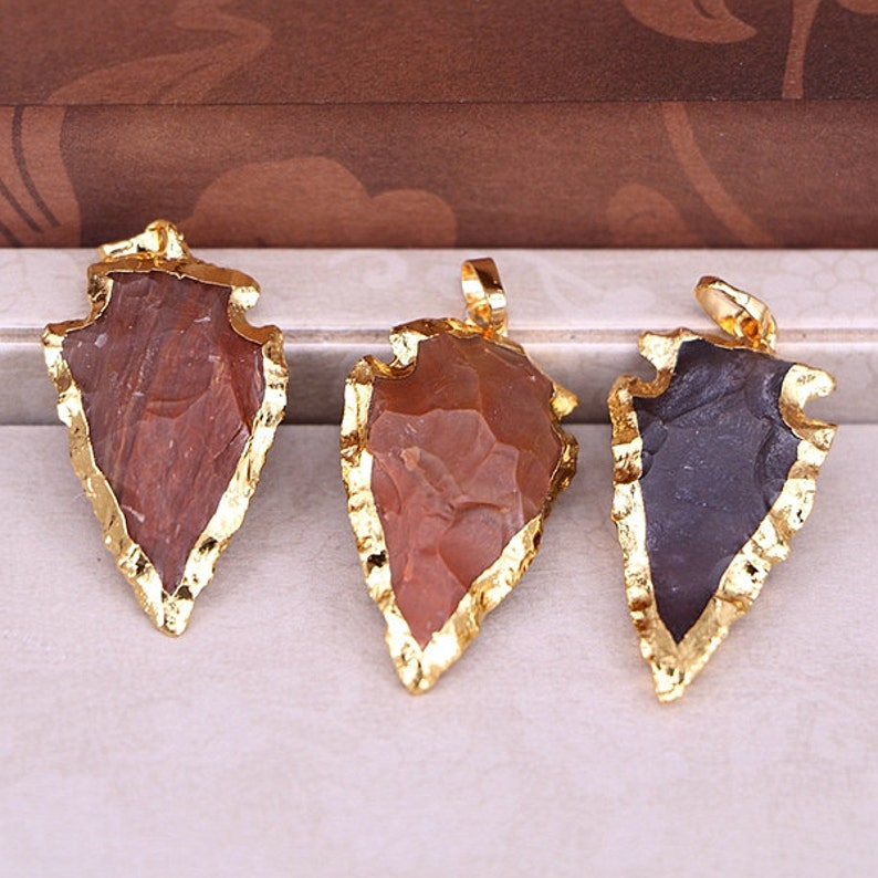 26pcs Small Size Naural Rough Arrowhead Jasper Pendant Gold plated edge gemstone arrow point druzy pendant