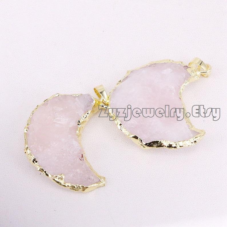 5pcs Natural Quartz Crescent Moon Charms GoldSilver color Stones Raw Crystals Crescent Monn Pendants